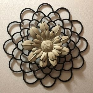 Other - Flower wall art - shabby chic, cream and black